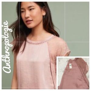 NWT Anthropologie Pink Laced Small Sleeve Shirt